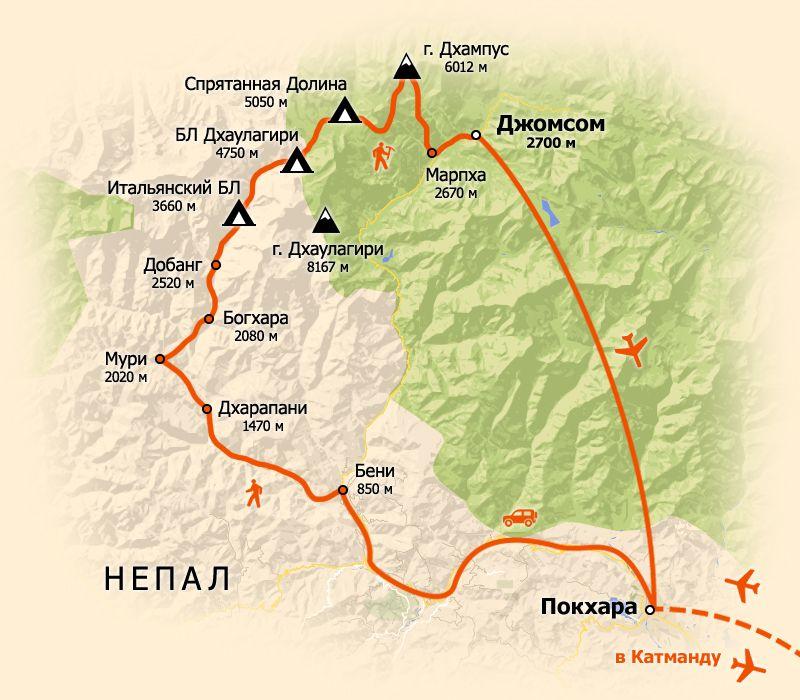 Схема маршрута. карта тура в