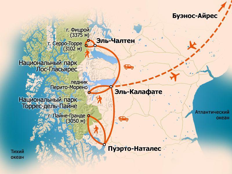 Схема маршрута. карта тура