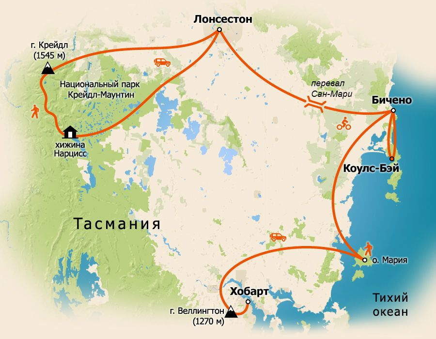 карта Австралии,