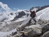 Выходим на ледник под перевалом Ганжа со стороны Хеламбу