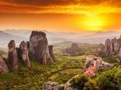 Закат в Метеорах, Греция