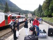 Фото из тура в Швейцарию в 2004 году. Уникальная граница без таможни (Франция - Швейцария)