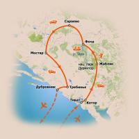 Карта тура в Черногорию