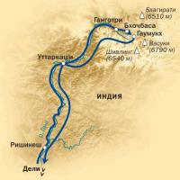 схема маршрута к истокам Ганга