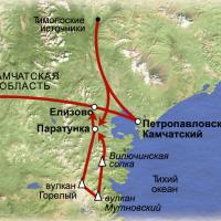 Схема маршрута по Камчатке