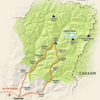 карта тура, карта Непала, тур в Непал, треккинг в Гималаях, тур в Гималаи, Канченджанга, Катманду, Жанну, стена Жанну