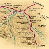 Карта маршрута в Ладакхе