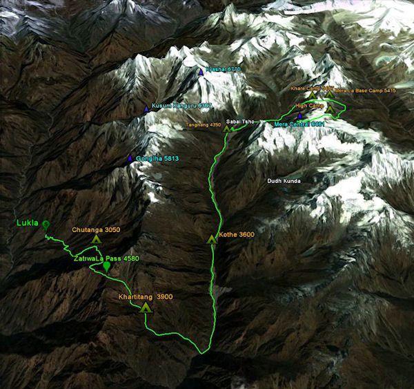 Непал: карта маршрута по долине Ролвалинга