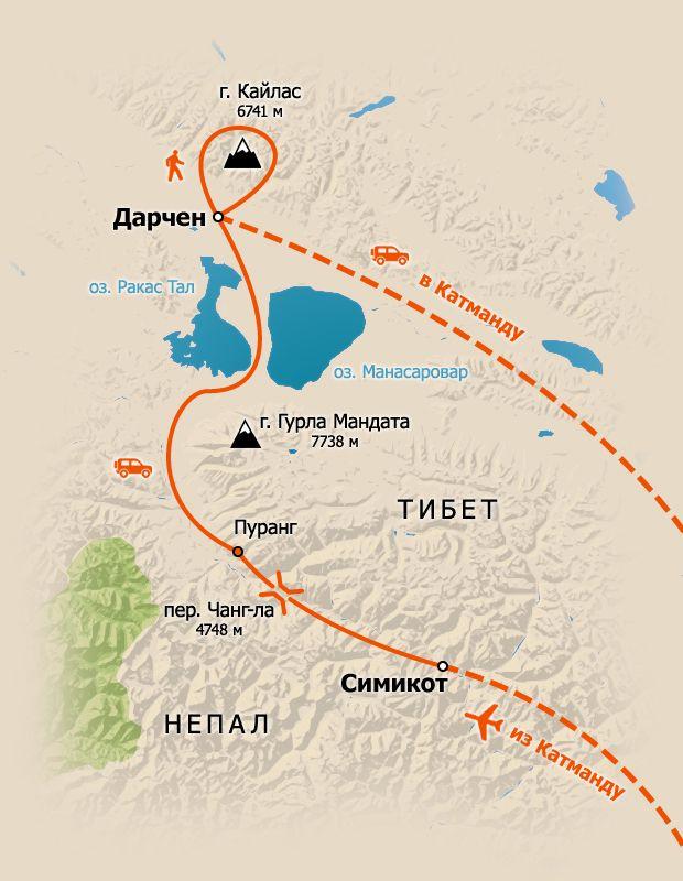 Схема маршрута Кайлас через Западный Непал