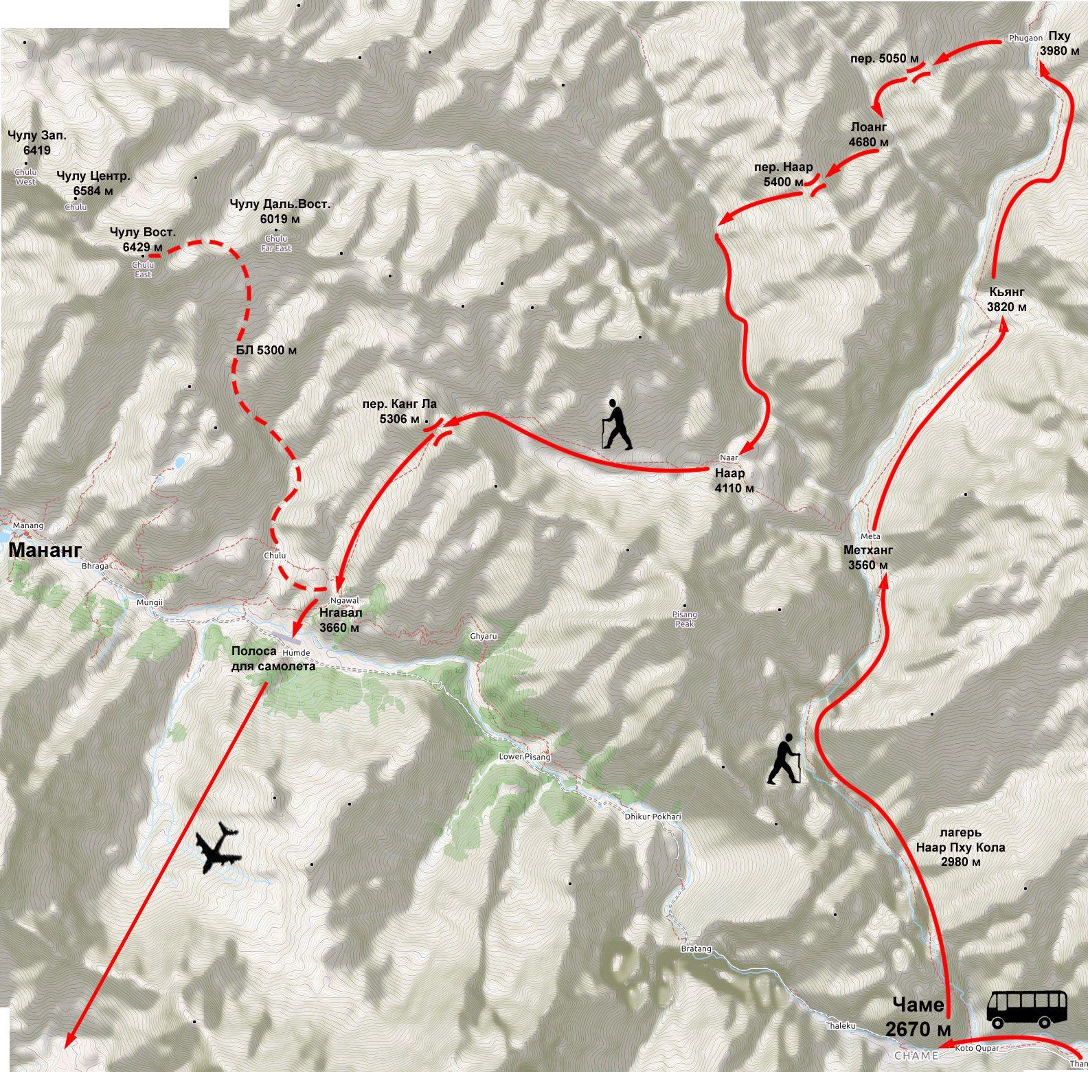 Схема маршрута в долины Наар и Пху с восхождением на Чулу Восточная