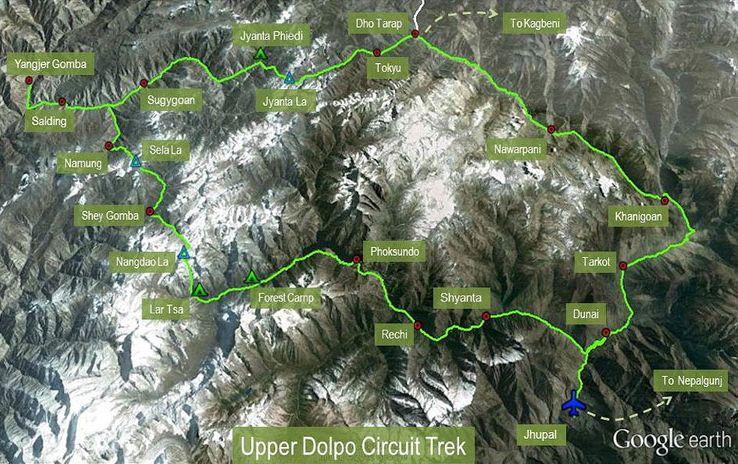 Тур в Непал, Верхнее Долпо, треккинг, путешествие в Гималаи, карта маршрута