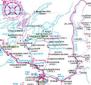 карта трека в Долину Цветов