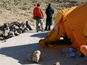 восхождение на Демавенд, первыцй лагерь на крыше туалета