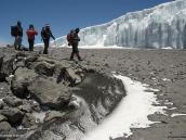 Фото из тура в Танзанию в 2009 году. Восходители на фоне ледника в кратере Килиманджаро.