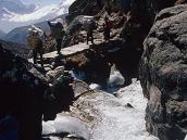 Фото из тура в Непал в 2004 году. За 2 часа хода до Гокио тропа вьется вдоль обрыва и пересекает бурный поток по мостику.