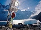 Фото из тура в Непал в 2004 году. Вечер вГокио. Облака скользят по поверхности озера.