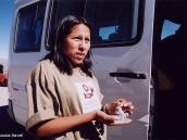 Фото из тура в Перу в 2004 году. Наш гид - перуанка на перевале  по дороге к Колка-каньону.