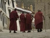Фото из тура на Тибет в 2008 году. Монахи идут на пуджу в монастыре Дрепунг в Лхасе.