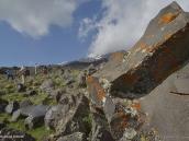 Фото из тура в Турцию в 2012 году.  По мере подъема все больше становится камней. Древние лавовые потоки развалились на валуны, покрытые разноцветными лишайниками.
