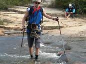 Фото из тура в Венесуэлу в феврале-марте 2012. Камни довольно скользкие, и индейцы рекомендуют переходить ручей в носках. Странный совет, но работает!