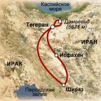 карта маршрута восхождение на Демавенд и другие чудеса Ирана