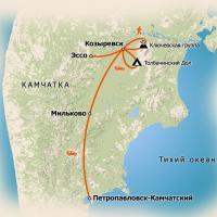 карта путешествия по Камчатке