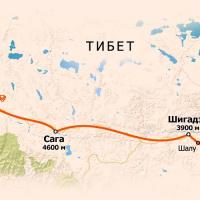 Схема маршрута в Тибет к Кайласу через Лхасу