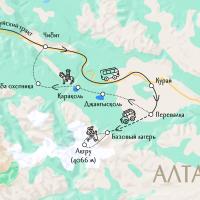 карта-схема маршрута на Алтае
