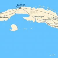 Карта путешествия по Кубе