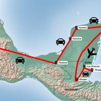 Схема маршрута Мексика - Белиз