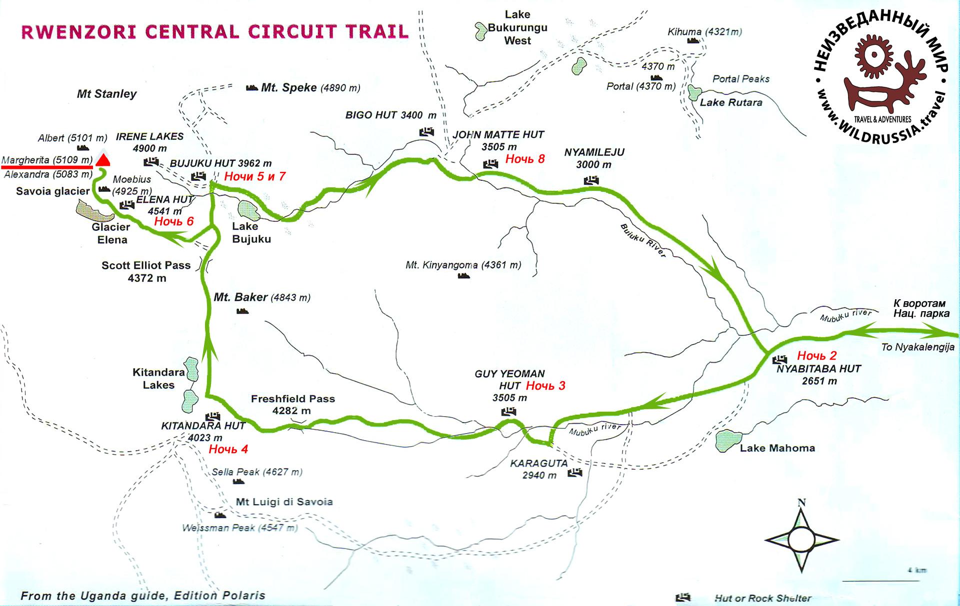 Схема треккинга и восхождения в Лунных горах Рувензори