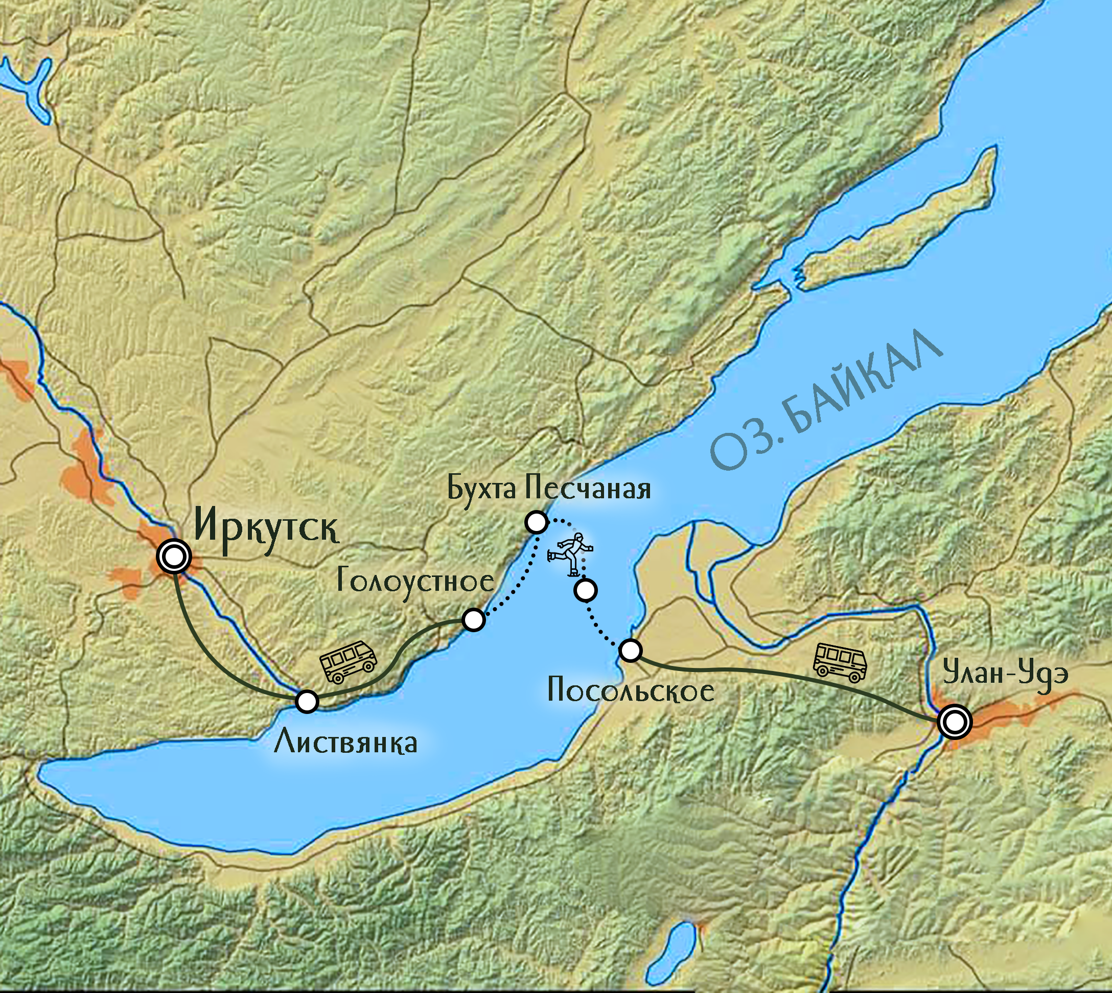 Карта путешествия на зимний Байкал