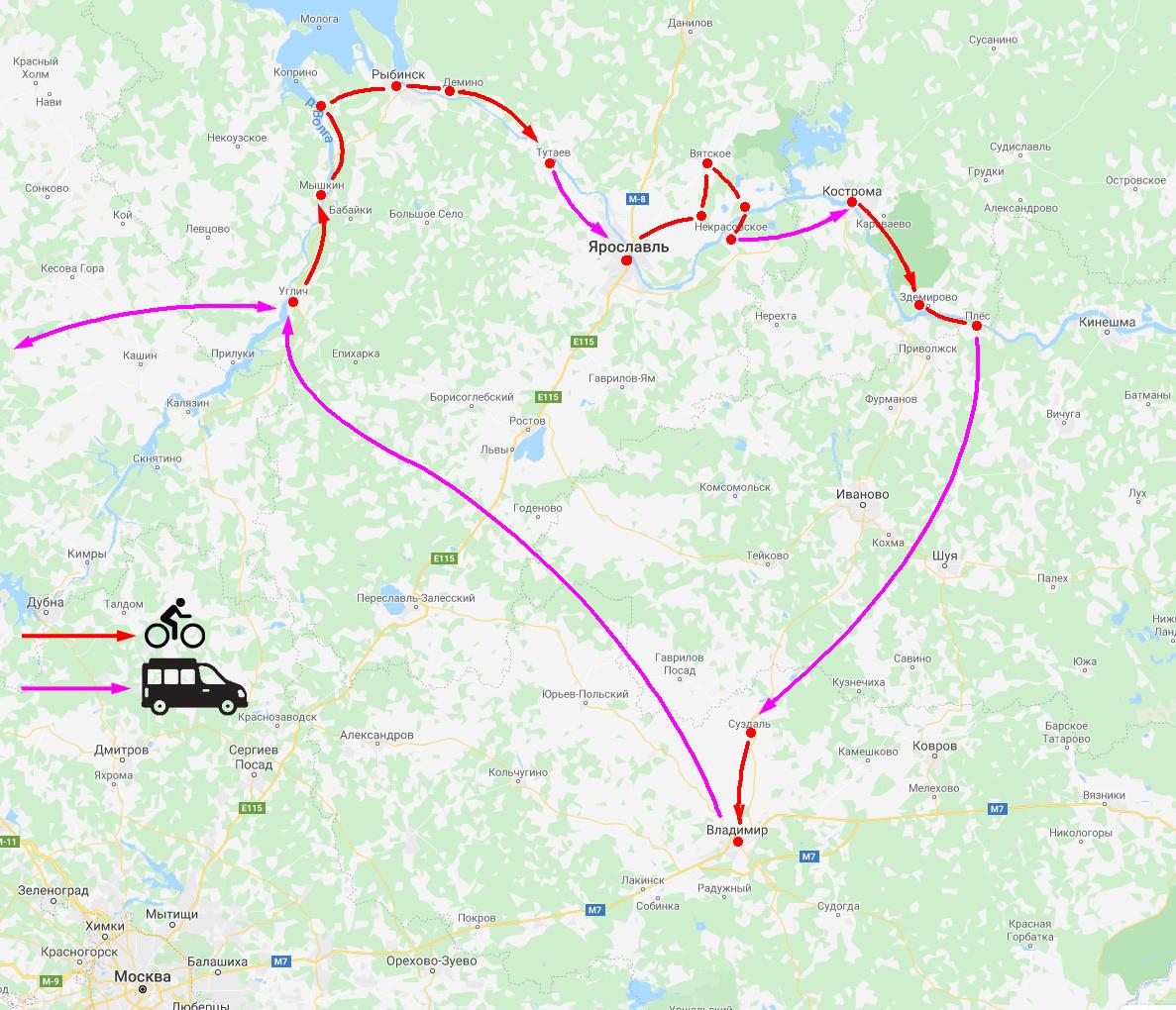 Схема маршрута вело-тура по Золотому Кольцу России