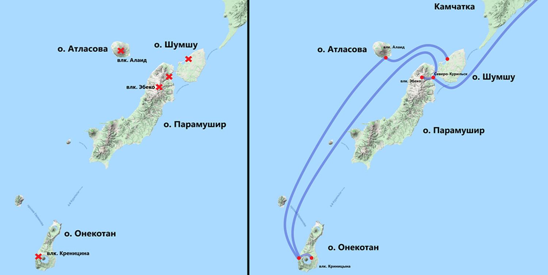 Схема маршрута на яхте к Курильским островам