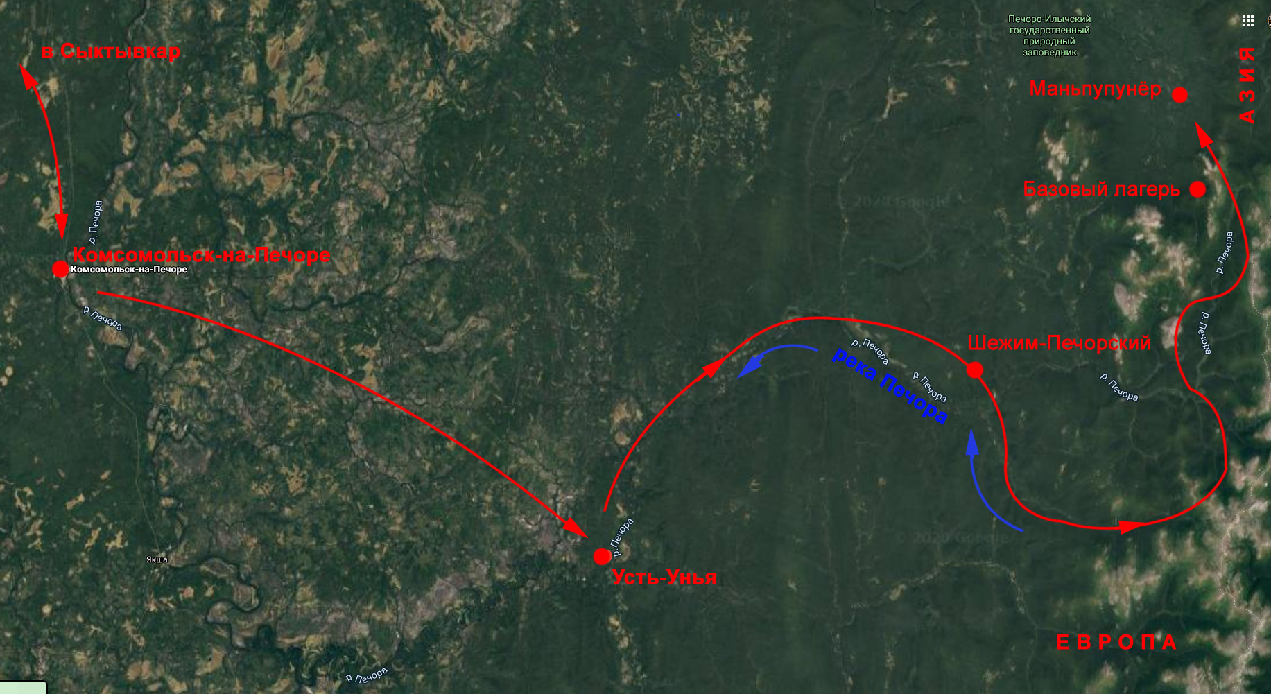 Схема маршрута к утёсам Маньпупунёр